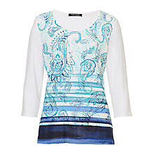 Buy Betty Barclay Paisley Print T-Shirt, White/Dark Blue Online at johnlewis.com