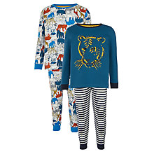 Buy John Lewis Children's Tiger and Safari Animals Pyjamas, Pack of 2, Blue Online at johnlewis.com