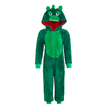 Buy John Lewis Boys' Dinosaur Fleece Onesie, Green Online at johnlewis.com