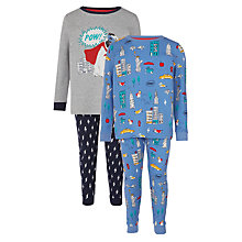 Buy John Lewis Boys' Super Dog Pyjamas, Pack of 2, Grey/Blue Online at johnlewis.com