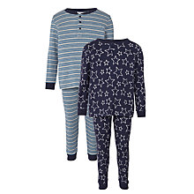 Buy John Lewis Boys' Star Henley Pyjamas, Pack of 2, Blue Online at johnlewis.com