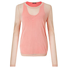 Buy Maison Scotch Sporty Mesh Jumper, Cream/Pink Online at johnlewis.com