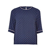 Buy Louche Joline Moon Print Top, Navy Online at johnlewis.com