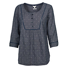 Buy Fat Face Sally Mini Check Popover Top, Navy Online at johnlewis.com