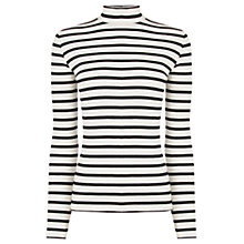 Buy Oasis Skinny Stripe Rib Polo Neck Jumper, Black/White Online at johnlewis.com