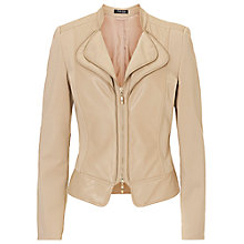 Buy Betty Barclay Faux Leather Jersey Biker Jacket, Dark Sand Online at johnlewis.com