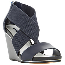 Buy Dune Kaye Wedge Heeled Cross Strap Sandals, Navy Leather Online at johnlewis.com