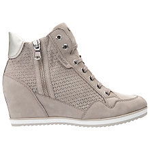 Buy Geox Illusion Wedge Heeled Trainers, Light Grey Suede Online at johnlewis.com