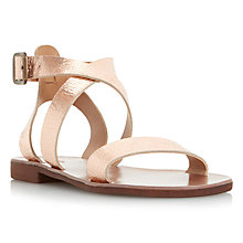 Buy Dune Lotti Leather Flat Cross Strap Sandals, Rose Gold Textured Online at johnlewis.com