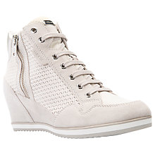 Buy Geox Illusion Wedge Heeled Lace Up Trainers, Off White Suede Online at johnlewis.com