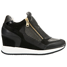 Buy Geox Nydame Wedge Heeled Trainers, Black Leather Online at johnlewis.com