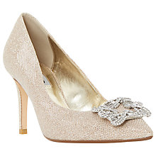 Buy Dune Betti Embellished Stiletto Heeled Court Shoes, Gold Online at johnlewis.com