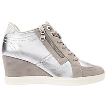 Buy Geox Eleni Wedge Heeled Trainers, Silver/Grey Leather Online at johnlewis.com