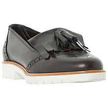 Buy Dune Goat Tassel Detail Loafers, Black Leather Online at johnlewis.com