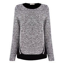 Buy Oasis Tweed Patched Jumper, Black Online at johnlewis.com