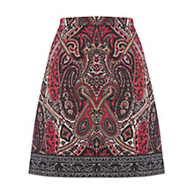 Buy Oasis Paisley Border Jacquard Skirt, Multi/Red Online at johnlewis.com