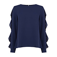 Buy Oasis Frill Sleeve Blouse, Navy Online at johnlewis.com