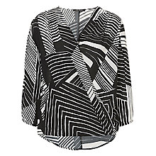 Buy Betty Barclay Wrapped Graphic Print Blouse, White/Black Online at johnlewis.com