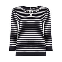 Buy Oasis Embellished Stripe Necklace Top, Multi Online at johnlewis.com