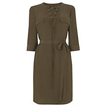 Buy Oasis Lace Up Dress, Khaki Online at johnlewis.com