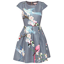 Buy Ted Baker Zaldana Flight Of The Orient Print Dress, Light Grey Online at johnlewis.com