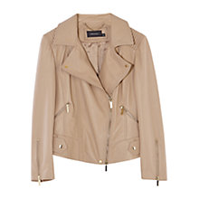 Buy Karen Millen Washed Leather Biker Jacket, Neutral Online at johnlewis.com