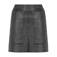 Buy Warehouse Panelled Faux Leather Skirt, Black Online at johnlewis.com