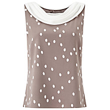 Buy Jacques Vert Spot Crepe Contrast Trim Top, Brown/Multi Online at johnlewis.com