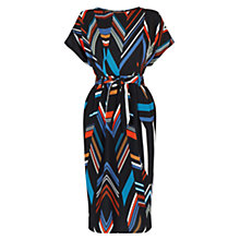 Buy Warehouse Chevron Stripe Belted Dress, Multi Online at johnlewis.com