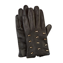 Buy Ted Baker Ailara Micro Bow Leather Gloves, Black Online at johnlewis.com