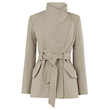 Buy Warehouse Short Asymmetric Belted Coat, Stone Online at johnlewis.com