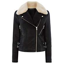 Buy Warehouse Fur Collar Biker Jacket, Black Online at johnlewis.com