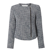 Buy White Stuff Agnes Textured Biker Jacket, Oxford Blue Online at johnlewis.com