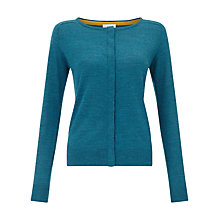 Buy East Grosgrain Tape Cardigan, Teal Online at johnlewis.com
