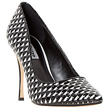 Buy Dune Brooklyne Stiletto Court Shoes, Black/White Online at johnlewis.com