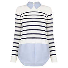 Buy Oasis Stripe Chambray Shirt Tails Jumper, Multi Online at johnlewis.com
