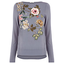 Buy Oasis Embroidered Opium Top, Mid Grey Online at johnlewis.com