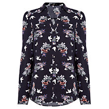 Buy Oasis Bird Print Shirt, Blue/Multi Online at johnlewis.com