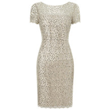 Buy Precis Petite Sequin Lace Dress, Oyster Online at johnlewis.com