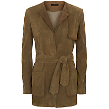 Buy Jaeger Suede Tie Waist Jacket, Khaki Online at johnlewis.com