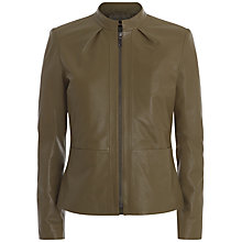 Buy Jaeger Funnel Neck Leather Jacket, Khaki Online at johnlewis.com