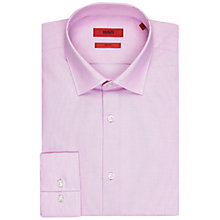 Buy HUGO by Hugo Boss Jenno Fil a Fil Slim Fit Shirt, Medium Pink Online at johnlewis.com