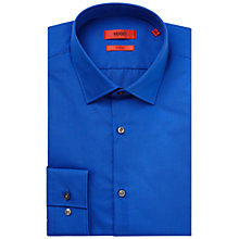 Buy HUGO by Hugo Boss Jenno Plain Cotton Slim Fit Shirt, Bright Blue Online at johnlewis.com