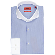 Buy HUGO by Hugo Boss Johann Stripe Slim Fit Shirt, Bright Blue Online at johnlewis.com