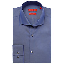 Buy HUGO by Hugo Boss Jason Slim Fit Textured Cotton Shirt, Navy Online at johnlewis.com