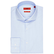 Buy HUGO by Hugo Boss Jery Fine Stripe Slim Fit Shirt, Light/Pastel Blue Online at johnlewis.com