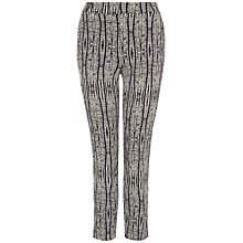 Buy Jaeger Aztec Print Cropped Trousers, Black/Cream Online at johnlewis.com
