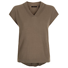 Buy Jaeger Silk Wool Drape Neck Top, Khaki Online at johnlewis.com