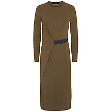 Buy Jaeger Contrast Elastic Dress, Khaki/Black Online at johnlewis.com