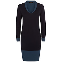 Buy Jaeger Tonal Collar Dress, Midnight/Teal Online at johnlewis.com